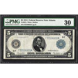 1914 $5 Federal Reserve Note Atlanta Fr.867a PMG Very Fine 30