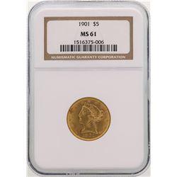 1901 $5 Liberty Head Half Eagle Gold Coin NGC MS61