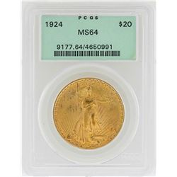 1924 $20 St. Gaudens Double Eagle Gold Coin PCGS MS64