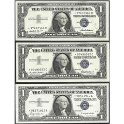 Lot of (3) 1957B $1 Silver Certificate STAR Notes