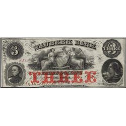 1857 $3 Waubeek Bank De Soto, NB Obsolete Note