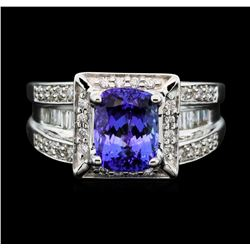 14KT White Gold 2.60 ctw Tanzanite and Diamond Ring