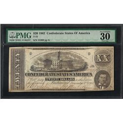 1862 $20 Confederate States of America Note T-51 PMG Very Fine 30 Canceled