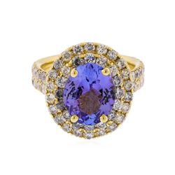 14K Yellow Gold 3.59 ctw Tanzanite and Diamond Ring