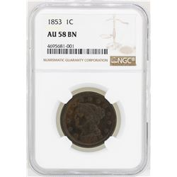 1853 Braided Hair Large Cent Coin NGC AU58BN