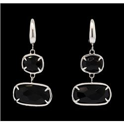 14KT White Gold Ladies Faceted Black Gemstone Dangle Earrings