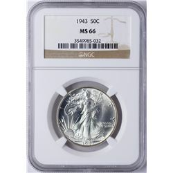 1943 Walking Liberty Half Dollar Coin NGC MS66