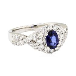 14KT White Gold 0.80 ctw Sapphire and Diamond Ring