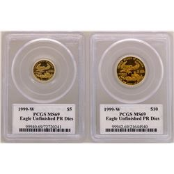 Lot of Rare 1999-W $5 & $10 American Gold Eagle Coins PCGS MS69 Unfinished PR Di