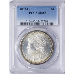 1882-CC $1 Morgan Silver Dollar Coin PCGS MS65 Nice Toning
