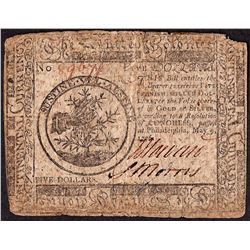 May 9, 1776 $5 Continental Currency Note