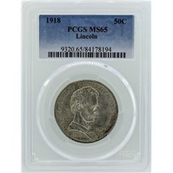 1918 Lincoln Commemorative Half Dollar Coin PCGS MS65