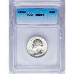 1932 Washington Quarter Coin ICG MS64