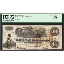 1862 $100 Confederate States of America Note T-39 PCGS Choice About New 58