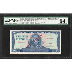 1971 Cuba 20 Pesos National Bank of Cuba Specimen Note PMG Choice Uncirculated 6