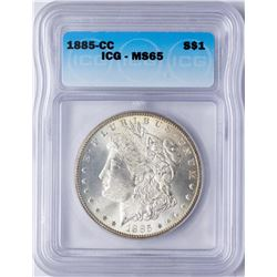 1885-CC $1 Morgan Silver Dollar Coin ICG MS65