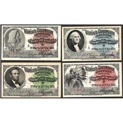 Lot of (4) 1893 Columbian Exposition Tickets