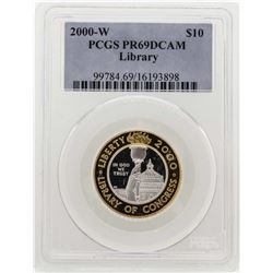 2000-W $10 Library of Congress Bimetallic Coin PCGS PR69DCAM