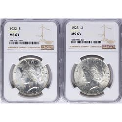 Lot of 1922-1923 $ Peace Silver Dollar Coins NGC MS63