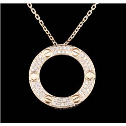 18KT Rose Gold 0.62 ctw Diamond Pendant with Chain
