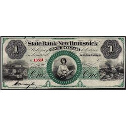 1800's $1 State Bank of New Brunswick Obsolete Note