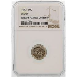 1943 Mercury Dime Coin NGC MS64