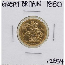 1880 Great Britain Queen Victoria Sovereign Gold Coin