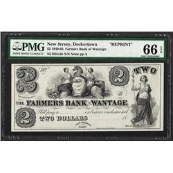 1849-65 $2 Farmers Bank of Wantage Reprint Obsolete Note PMG Gem Uncirculated 66