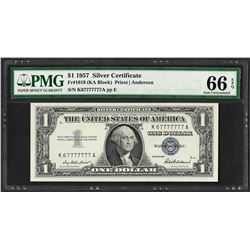 1957 $1 Silver Certificate Note Near Solid Serial 7's PMG Gem Uncirculated 66EPQ