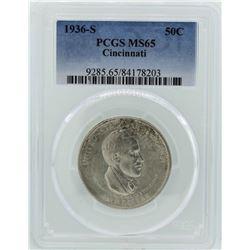 1936-S Cincinnati Music Center Commemorative Half Dollar Coin PCGS MS65
