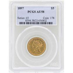 1897 $5 Liberty Head Half Eagle Gold Coin PCGS AU58