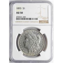 1893 $1 Morgan Silver Dollar Coin NGC AU50
