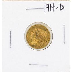 1914-D $2 1/2 Indian Head Quarter Eagle Gold Coin