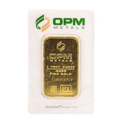 OPM Metals 1 Troy Ounce .999 Fine Gold Bar Sealed