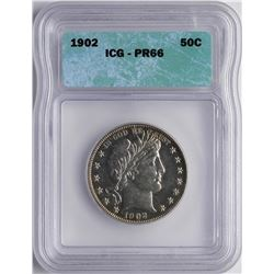 1902 Proof Barber Half Dollar Coin ICG PR66