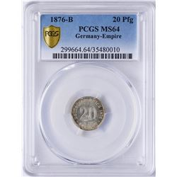 1876-B Germany-Empire 20 Pfennig Coin PCGS MS64