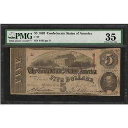 1863 $5 Confederate States of America Note T-60 PMG Choice Very Fine 35