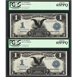 (2) Consecutive 1899 $1 Black Eagle Silver Certificate Notes PCGS Gem New 65PPQ
