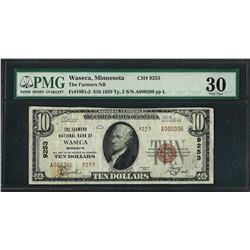 1929 $10 National Currency Note Waseca, MN CH# 9253 PMG Very Fine 30