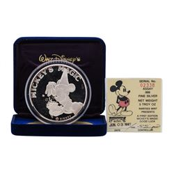1987 Rarities Mint Walt Disney Mickey's Magic 5 oz .999 Silver Coin w/Box & COA