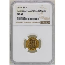 1926 $2 1/2  American Sesquicentennial Commemorative Gold Coin NGC MS63