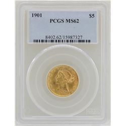1901 $5 Liberty Head Half Eagle Gold Coin PCGS MS62