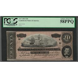 1864 $20 Confederate States of America Note T-67 PCGS Choice About New 58PPQ