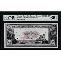1917 $20 Canadian Bank of Commerce SPECIMEN Note PMG Gem Uncirculated 65EPQ