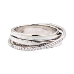 14KT White Gold 0.25 ctw Diamond Crossover Ring