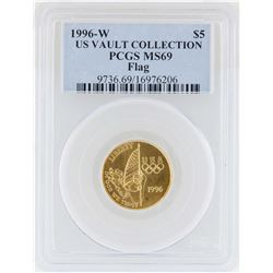 1996-W $5 US Vault Collection Flag Commemorative Gold Coin PCGS MS69