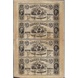 Uncut Sheet of 1853 $5 Canal Bank Obsolete Notes
