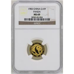 1983 China 10 Yuan Panda Gold Coin NGC MS69