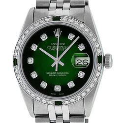 Rolex Men's Stainless Steel 36mm Green Vignette Diamond Datejust Wristwatch