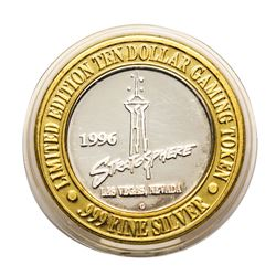 .999 Silver Stratosphere Las Vegas, Nevada $10 Casino Limited Edition Gaming Tok